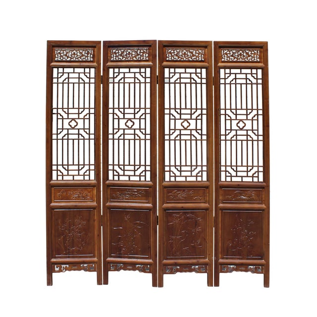 Brown Chinese Brown Geometric Pattern Theme Wood Panel Floor Screen For Sale - Image 8 of 8