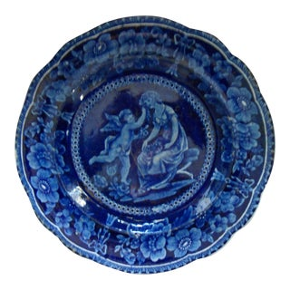 Antique Staffordshire Deep Blue Plate For Sale