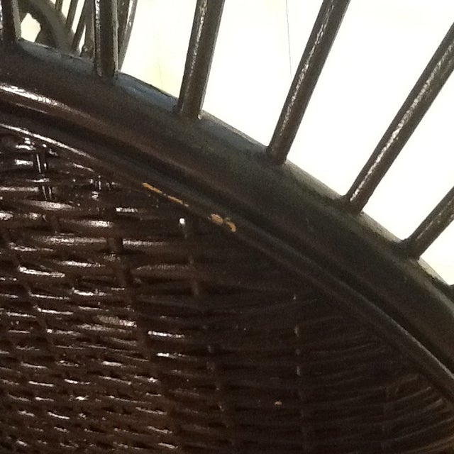 White Mid-Century Rattan Wicker Peacock Fan Back Throne Chairs -A Pair For Sale - Image 8 of 13