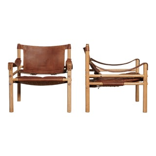 Pair of Arne Norell Sirocco Safari Chairs, Norell Mobel, Sweden, 1970s For Sale