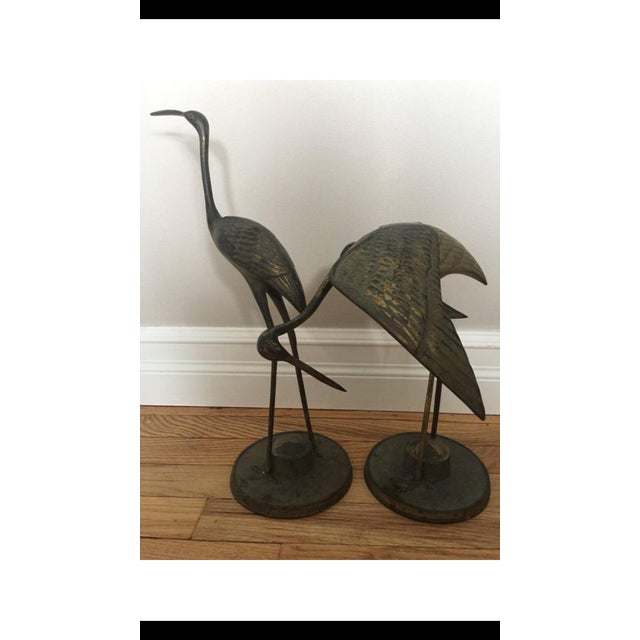 1970s Brass Crane Statues- a Pair For Sale - Image 5 of 13
