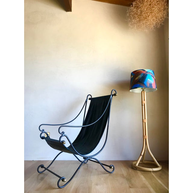 Contemporary 20th Century Maison Jansen Neoclassical Iron Brass Sling Lounge Chair Savonarola Janus Et Cie Style For Sale - Image 3 of 12