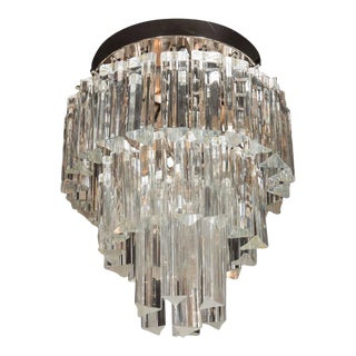 Mid-Century Modernist Three-Tier Camer Glass Flush Mount Chandelier
