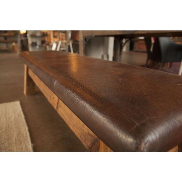 Dark Brown Large Vintage Leather Gym Mat Seating - Image 6 of 6