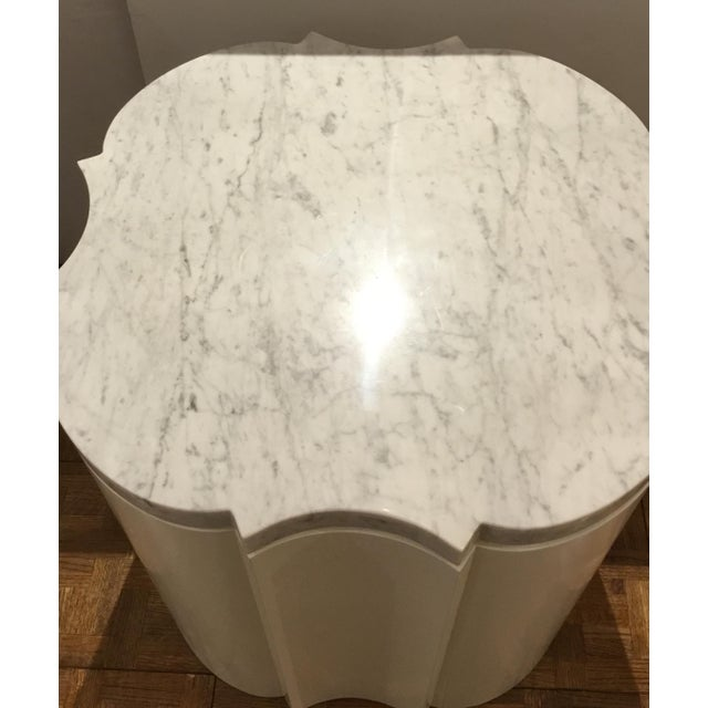 Modern Modern White Marble Quatrefoil Side Tables Pair Prototypes For Sale - Image 3 of 5