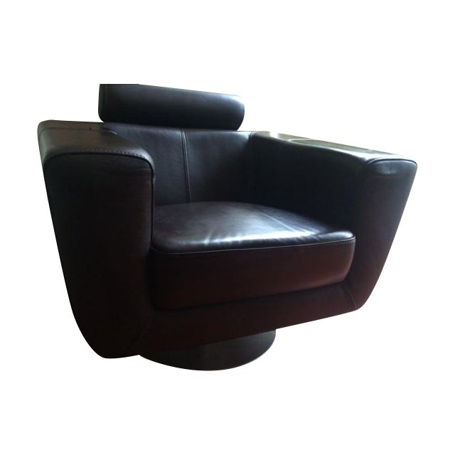 Chocolate Leather Swivel Chair - Image 1 of 7