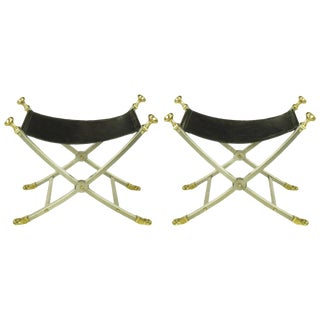Pair of Maison Jansen Black Leather, Brass and Brushed Nickel Benches For Sale