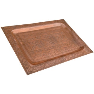 Handmade Moorish-Patterned Copper Tray For Sale