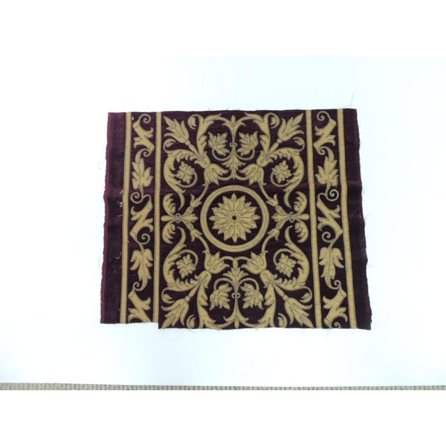 Late 19th Century Antique Italian Gold and Burgundy Silk on Silk Velvet Applique Textile Panel For Sale - Image 5 of 5