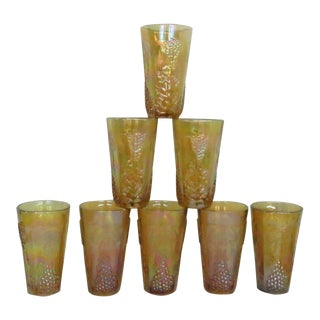 Indiana Harvest Grape Style Amber Carnival Glass Set of 8 Tumbler Cups For Sale