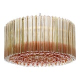 Image of Hollywood Regency Venini Chandelier With Clear and Orange Sommerso Trilobo Glass Rods For Sale