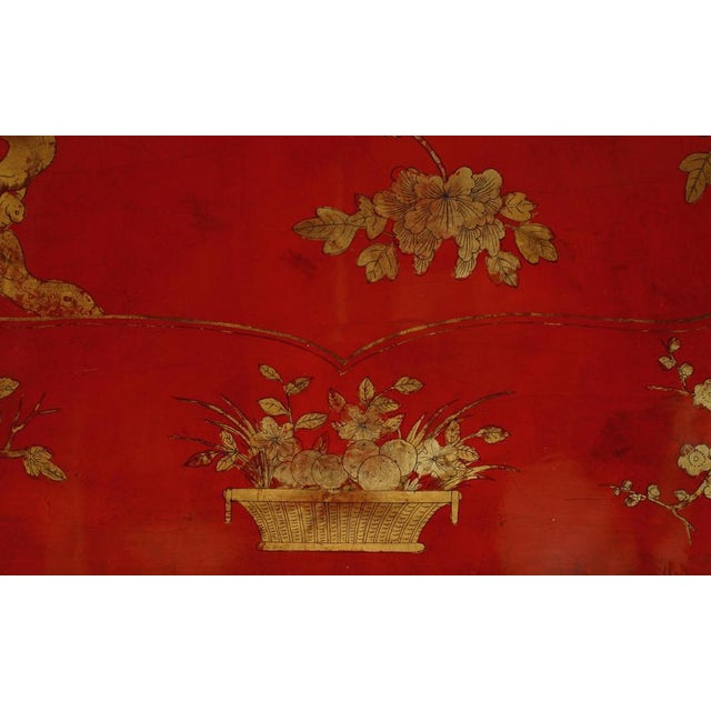 Asian Chinese Oval Red Lacquer and Gilt Stencilled Center Table For Sale In New York - Image 6 of 8