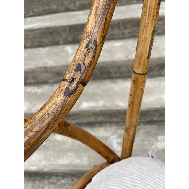 Wood Burnt Bamboo Barstools - Set/4 For Sale - Image 7 of 8