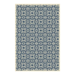 Blue & White Modern European Design Rug - 4' X 6'