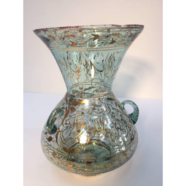 Handblown Mosque Glass Lamp in Mameluk Style Gilded With Arabic Calligraphy For Sale - Image 10 of 10