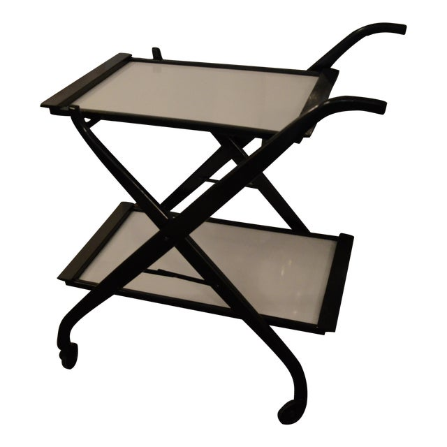 Foldable Newly Laquered Wood Frame & Removable Melamine Tray Bar Cart - Image 1 of 7
