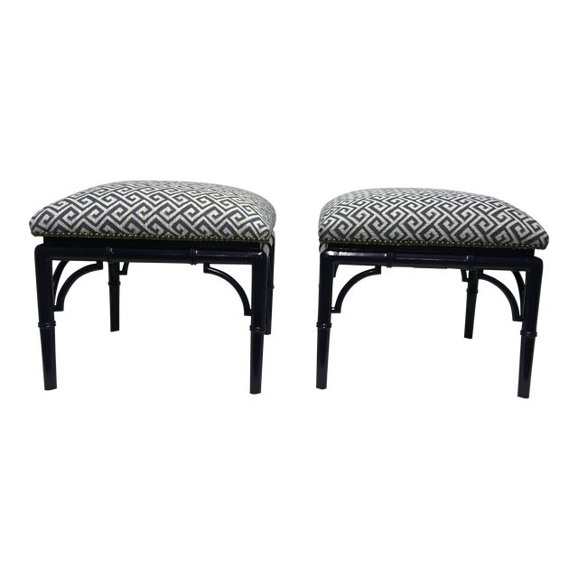 Tomlinson Faux Bamboo Benches, a Pair For Sale