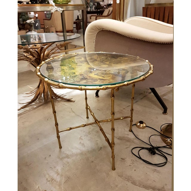 Boho Chic French Faux Bamboo Brass Mid Century Modern Side Table, C 1960s For Sale - Image 3 of 6