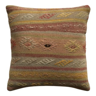 20th Century Turkish Brown and Beige Wool Kilim Pillow - Small