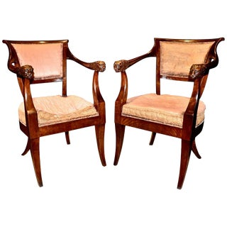Pair of Period Russian Neoclassical Walnut Chairs With Lion Motif For Sale