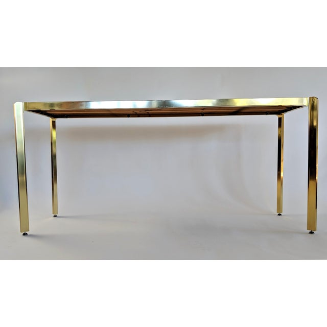 Mid-Century Modern Brass & Burlwood Console Table For Sale - Image 3 of 13