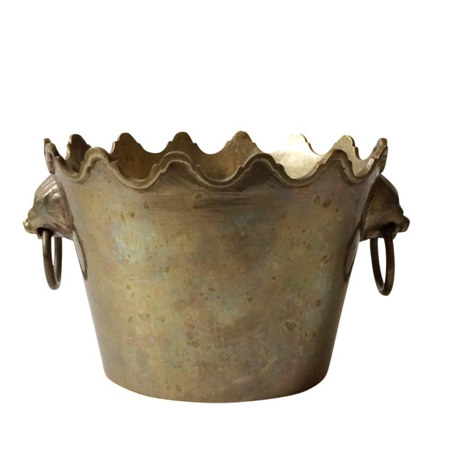 Brass Planter with Lion Head Handles - Image 1 of 5