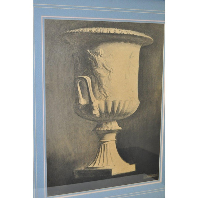 """John Reid Mid 19th Century """"Classic Urn"""" Charcoal Drawing For Sale - Image 4 of 7"""