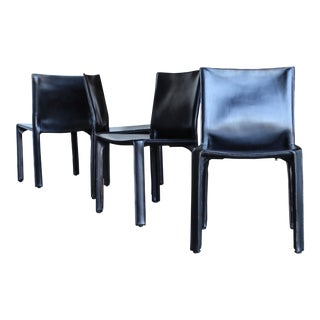 "Black Leather ""Cab"" Chairs by Mario Bellini for Cassina Circa 1980 - Set of 4 For Sale"