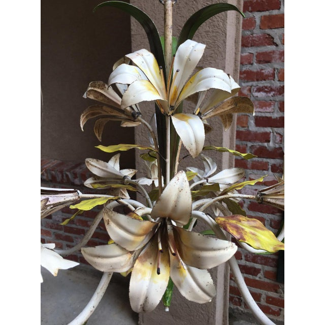 Antique French Tole Flower Polychrome Metal Chandelier For Sale - Image 9 of 10