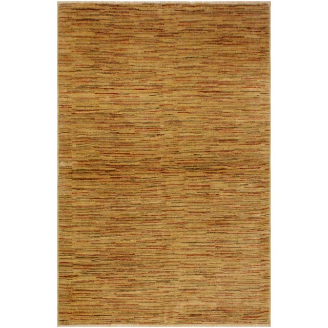 Brown Gabbeh Jacqueline Tan/Rust Wool Area Rug -4'3 X 5'9 For Sale - Image 8 of 8