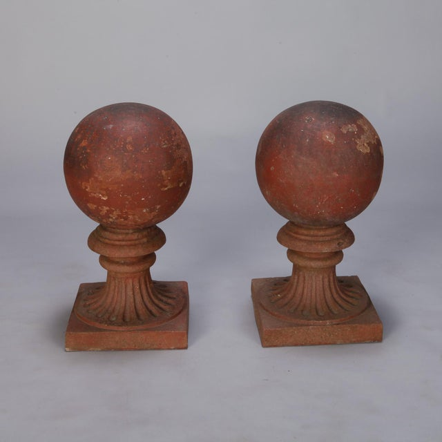 1930s Large Round Terra Cotta Finial on Stand For Sale - Image 4 of 6