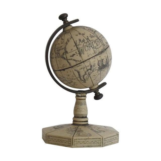 Faux Ivory Carved Resin Desk Globe - Image 1 of 5