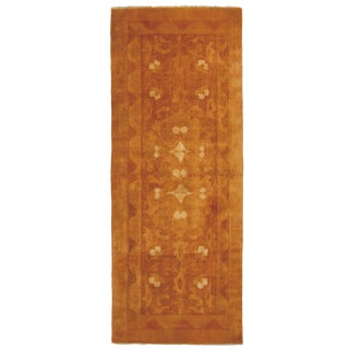 Antique Agra Copper and Brown Geometric-Floral Wool Runner - 2′4″ × 6′2″ For Sale