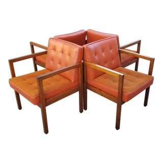 Vintage 1970 Mid-Century Biscuit Tufted Naugahyde Hiebert Arm Chairs -Set of 4 For Sale