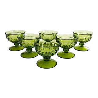 Vintage Green Coupe Glasses - Set of 6 For Sale