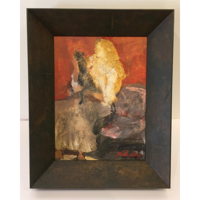 """Contemporary Fry Oil Painting """"Heavy Petting"""", Contemporary Red Figurative Scene For Sale - Image 3 of 7"""