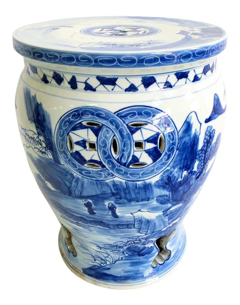 New Blue And White Chinoiserie Garden Stool