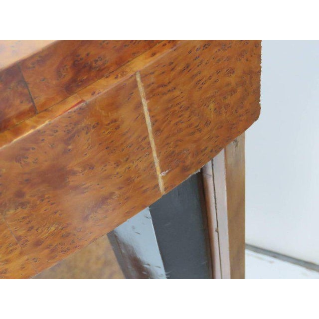 Glass Pair of Mid Century Modern Style Burl Walnut and Ebonized Mirrored Consoles For Sale - Image 7 of 9