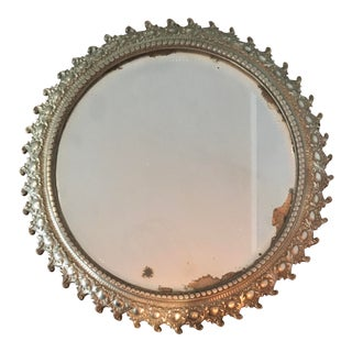 Early 20th Century Victorian Round Plateau Vanity Mirror Silver Plated Iron For Sale