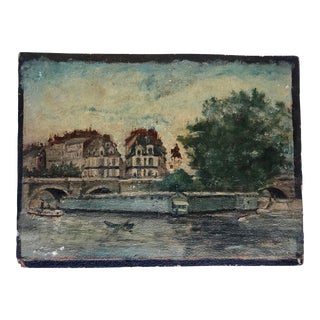 Early 20th Century Vintage Seine River in Paris Small Oil Painting on Board For Sale