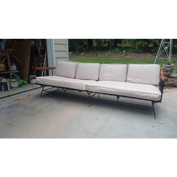 Mid-Century Modern Selrite Iron Wood Frame Long Sofa