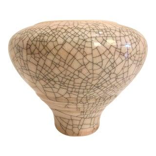Crackle Finish Ceramic Vase/Signed For Sale