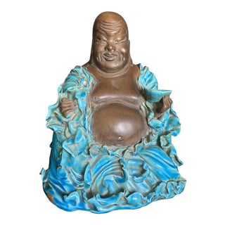 1950s Vintage Aldo Londi for Bitossi Laughing Buddha With Rimini Blue Turquoise Robes Pottery Statue For Sale