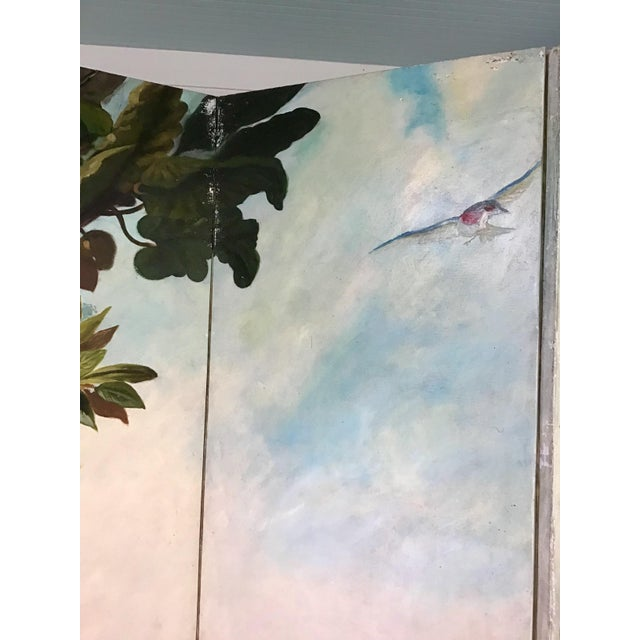 Paint Maitland Smith Handpainted 3-Panel Screen For Sale - Image 7 of 10