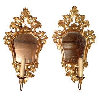 Gold Leaf and Mirror Sconces - A Pair For Sale