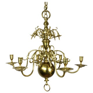 Dutch Brass Six-Light Chandelier For Sale