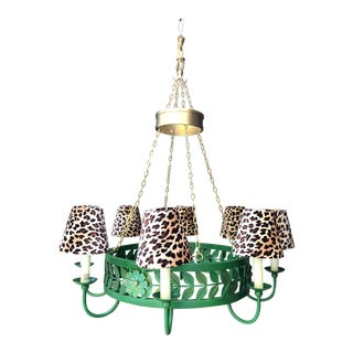 Emerald Green Chandelier With Leopard Shades For Sale