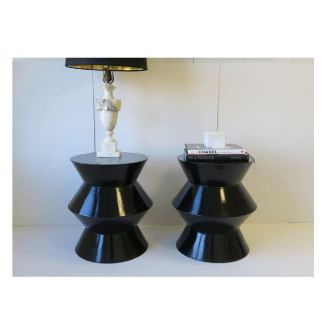 20th Century Art Deco Round Black Lacquer Side/End Tables - a Pair For Sale In New York - Image 6 of 13