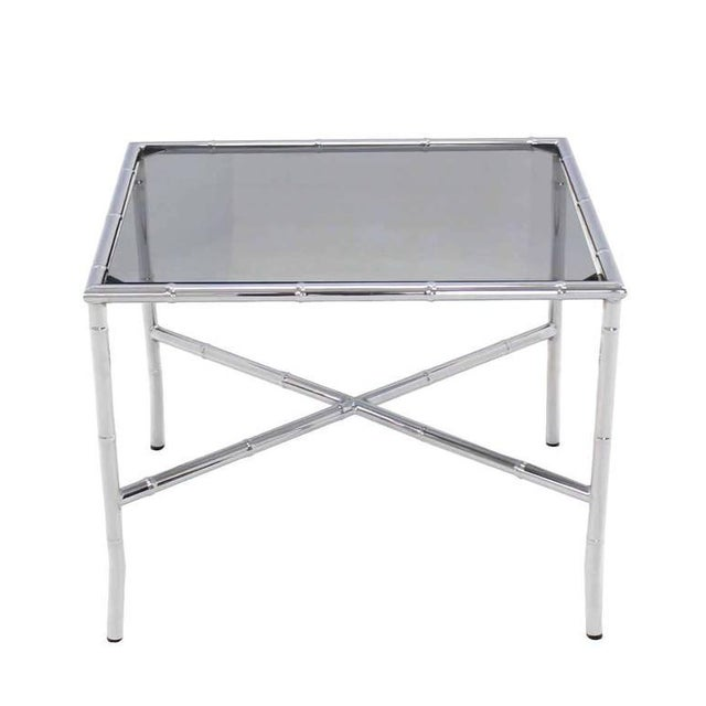 Chrome Faux Bamboo Smoked Glass Top Side or Coffee Table For Sale - Image 10 of 10
