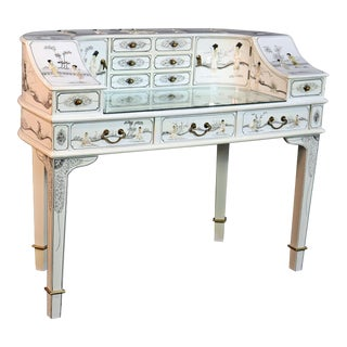 White Chinoiserie Carlton House Desk For Sale